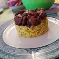 Cuscús de verduras con Higaditos de Pollo yMusabbaha Libanés