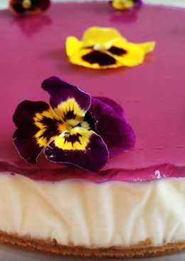 Tarta de queso y violetas