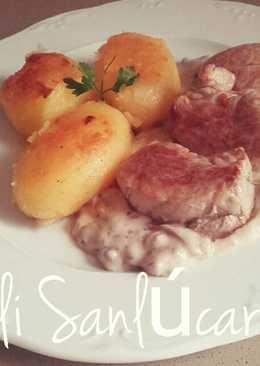 Solomillo con salsa de setas y patatas (nuestra carne blanca)