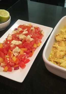 Curry de pollo con ensalada de verano [sin gluten]