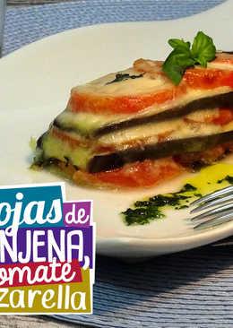 Milhojas de tomate, mozzarella y berenjena