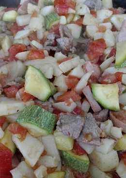 🇲🇽Guisado Mexicano- bistec con salchichas y verduras