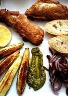 Gallineta en gabardina con verduras y una lágrima de pesto
