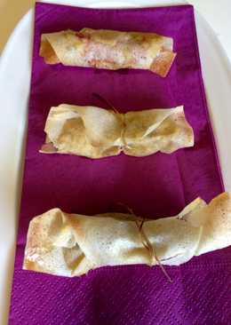 Rollitos de crema de puerros y champiñones con jamón plancha