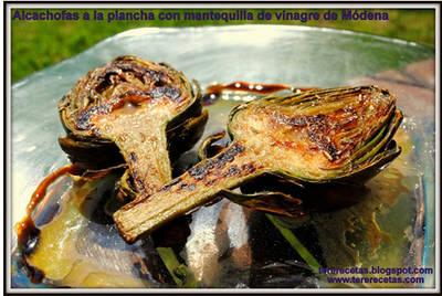 Alcachofas a la plancha con mantequilla de vinagre de Módena