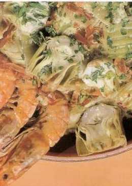 Alcachofas a la crema de almendras