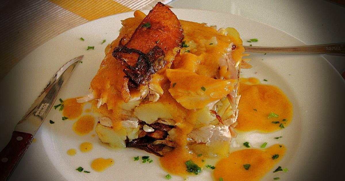 Milhojas de pollo asado con su salsa receta de - Salsa para pollos asados ...