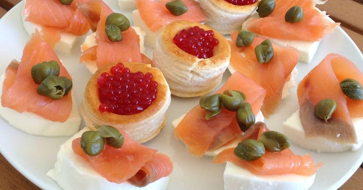 Canap s de salm n ahumado receta de marieta cookpad for Canape de salmon ahumado
