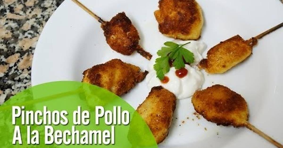 Pinchos de pollo a la bechamel receta de kikodinoblog - Como preparar pinchos de pollo ...
