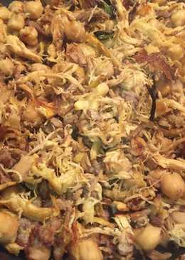 Garbanzos fritos y carne del cocido