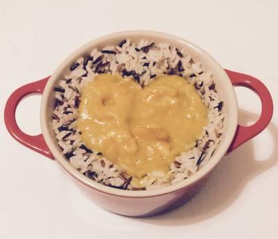 Gambas en salsa mango y arroz salvaje