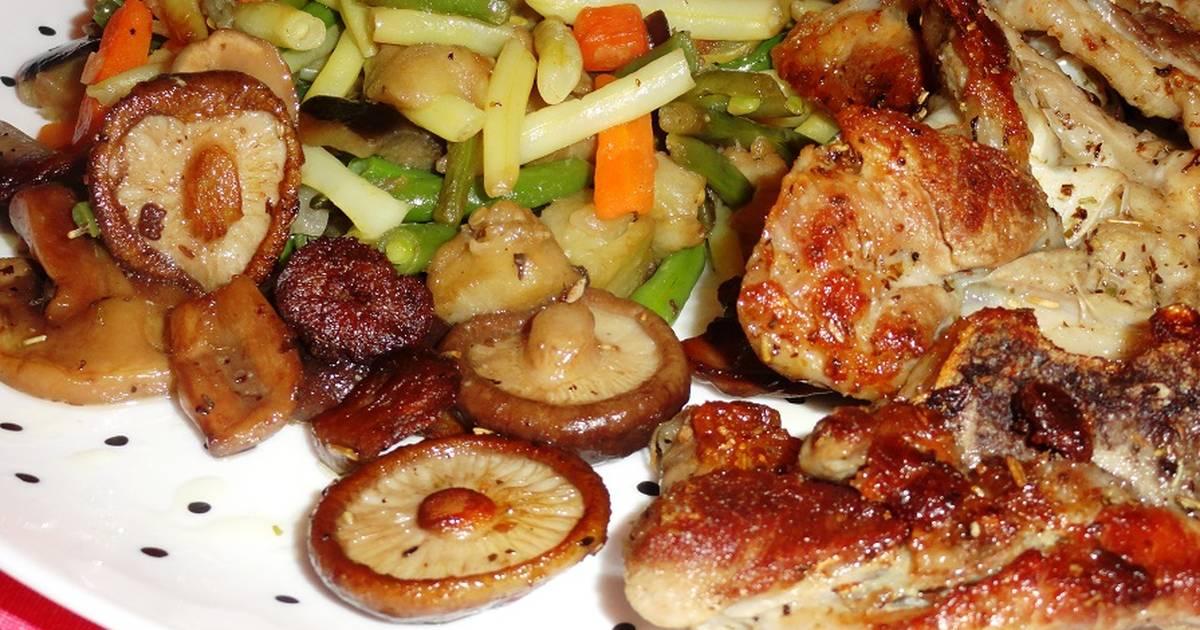Parrillada de chuletas de pavo setas y verduras receta de for Parrillada verduras