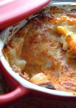 Gratinado de boniato con zanahorias y queso azul