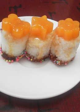 sushi dulce fantasa con gelatina de zanahoria apto celiacos y alergicos