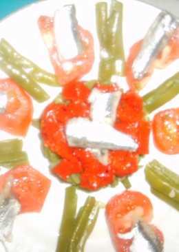 Ensalada de Anchoas (boquerones) marinadas con verduras