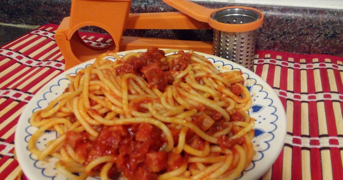Espaguetis express con jam n y chorizo receta de for Espaguetis para dos