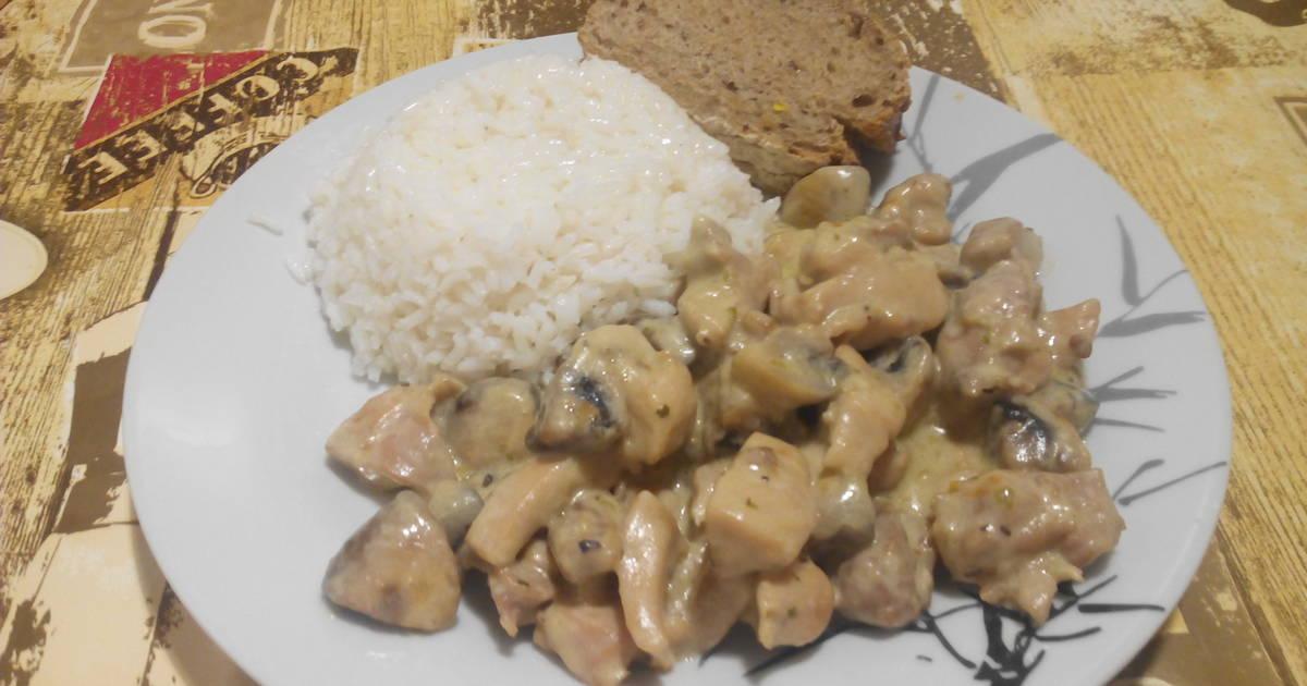 Wok de pollo con champiñones al roquefort Receta de Jesús Ruiz