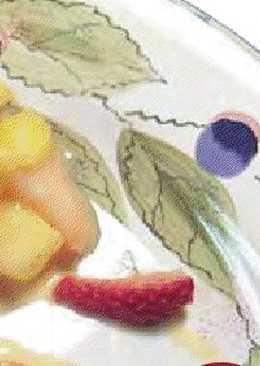 Postre de frutas tropicales al yogurt para diabéticos