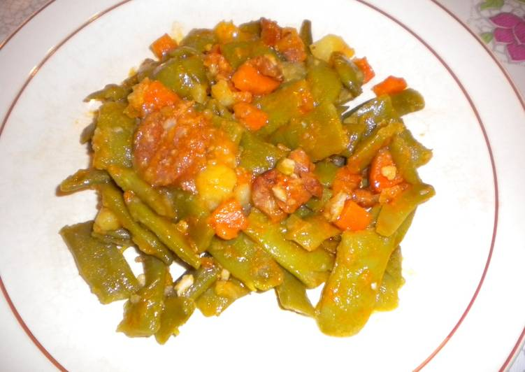 Jud as verdes con chorizo receta de chefi martinez cookpad - Judias con chorizo y patatas ...