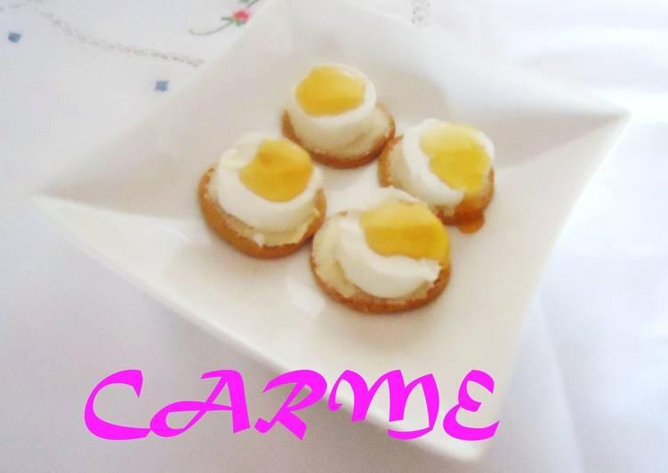 Canap s de queso de cabra y miel receta de carme castillo for Canape queso de cabra