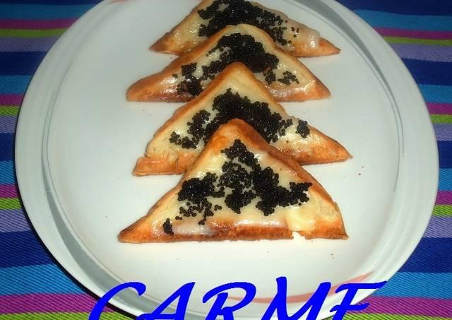 Canap s de mozzarella y caviar receta de carme castillo for Canape de caviar