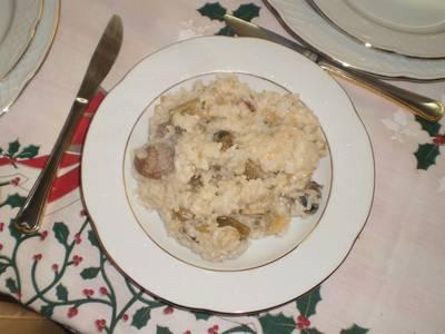 Arroz caldoso con cardos y almejas
