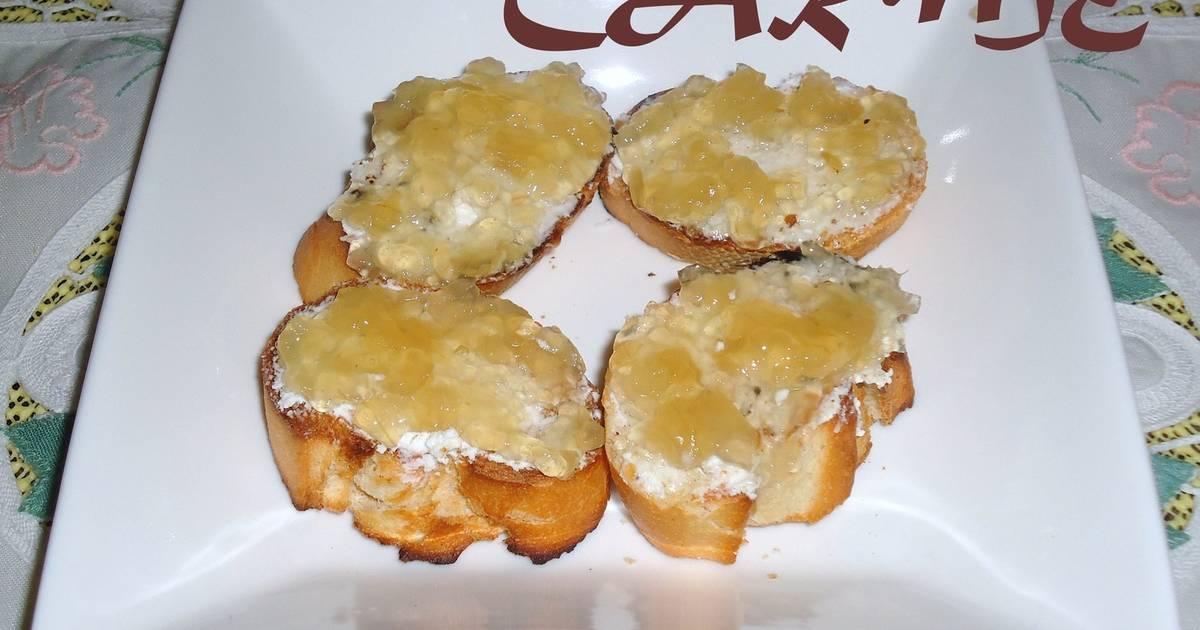 Canap s de queso de cabra y cebolla confitada receta de for Canape queso de cabra