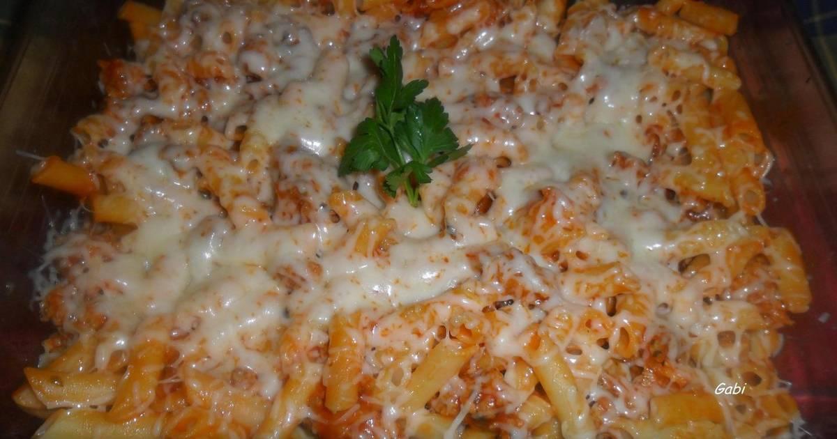 Macarrones con carne al horno receta de gabriela diez - Macarrones con verduras al horno ...
