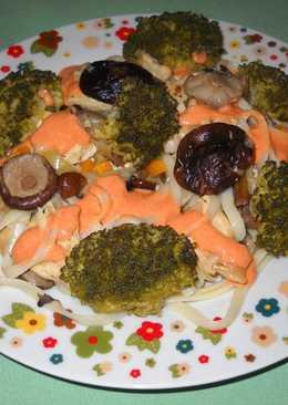 Salteado de pollo con setas y brócoli