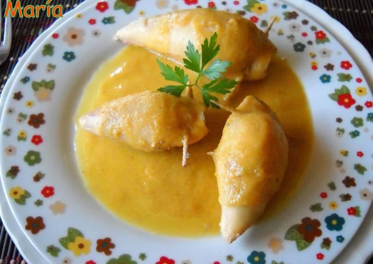 Calamares rellenos en salsa de zanahoria receta de - Salsa para calamares rellenos ...