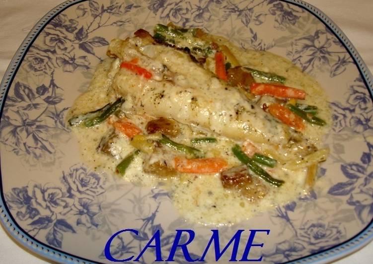 Rape al horno con salsa de yogurt receta de carme castillo - Salsa para verduras al horno ...