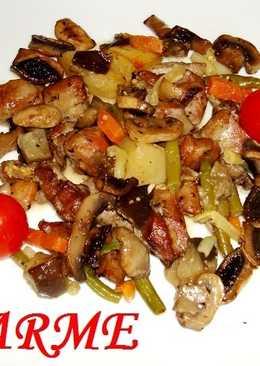 Pavo asado con verduras