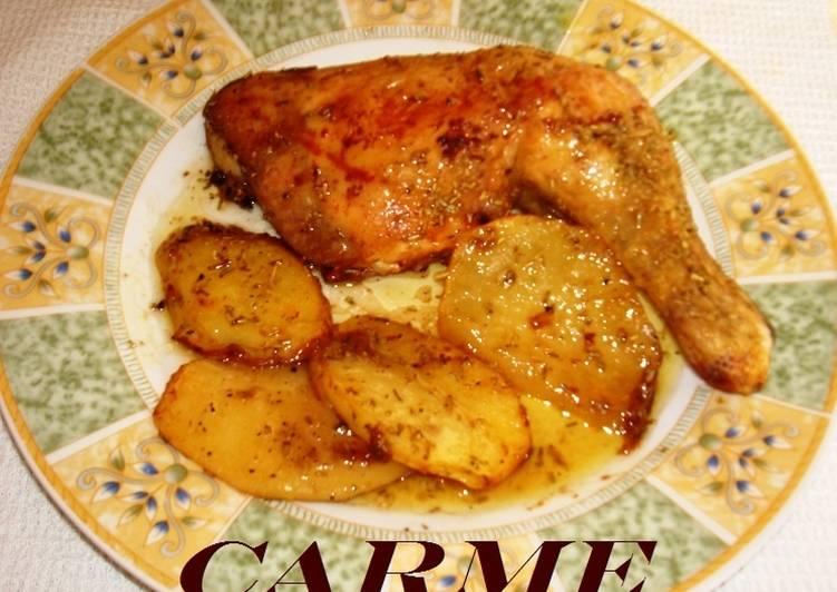 Pollo asado con patatas Receta de carme castillo - Cookpad