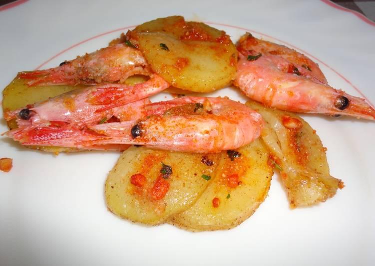 Gambas al horno con patatas