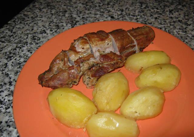 solomillo de cerdo con patatas al horno receta de