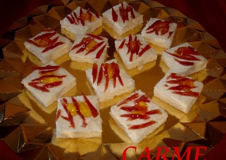 Canap s de queso de cabra y virutas de jam n receta de for Canape queso de cabra