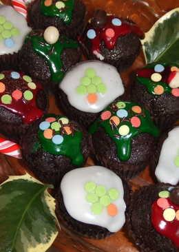 Mini magdalenas de chocolate glaseadas para navidad