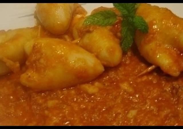 Chipirones rellenos de jam n y gambas receta de m jose - Chipirones rellenos en salsa de tomate ...