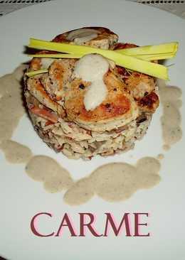 Tartar de arroces con jamón y champiñones