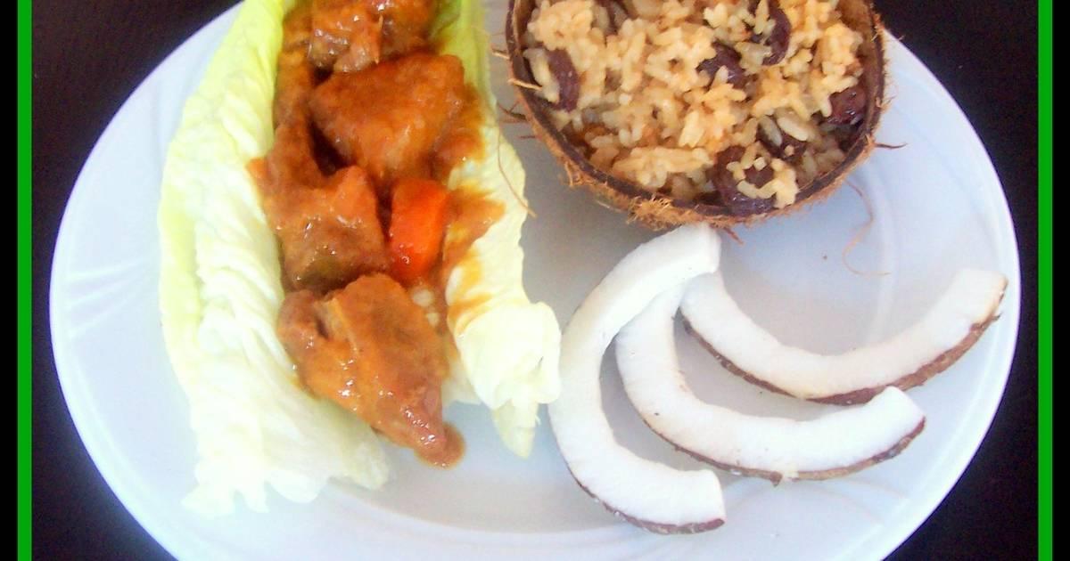 Carne guisada con dulce de zanahoria y arroz con coco - Dulce de zanahoria ...