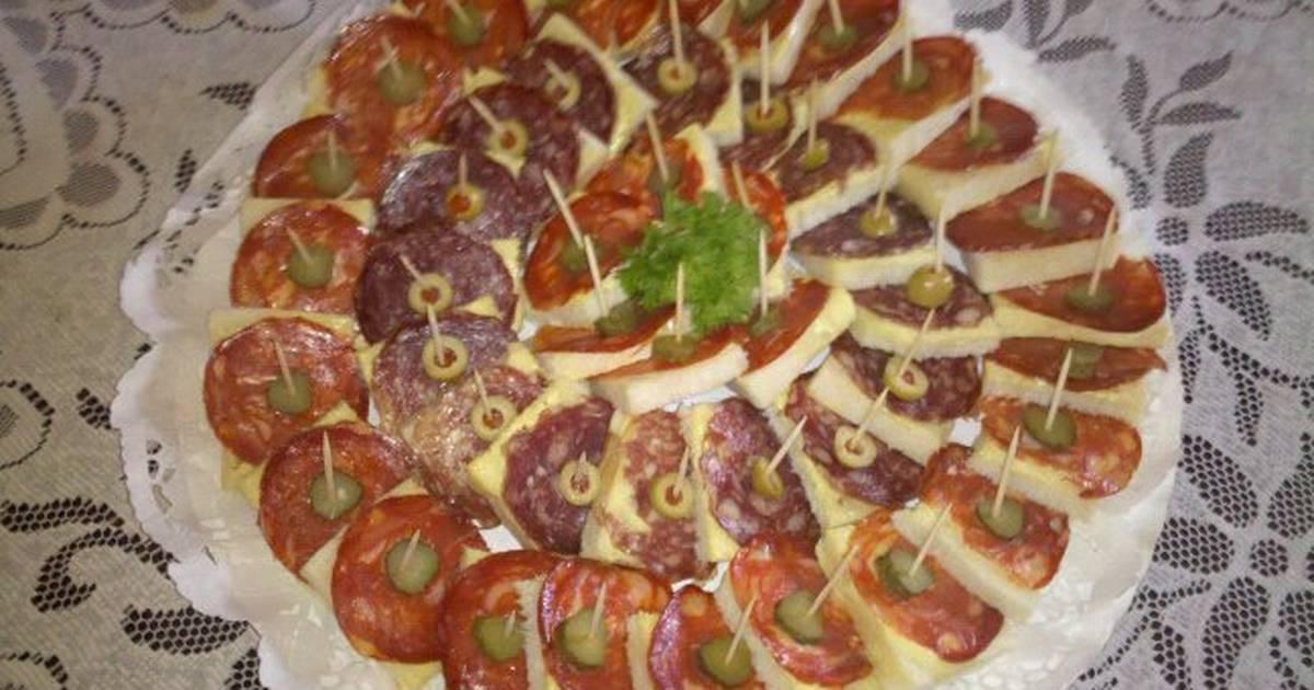 Canap s de chorizo y salchich n receta de hermes6 cookpad for Chorizo canape ideas