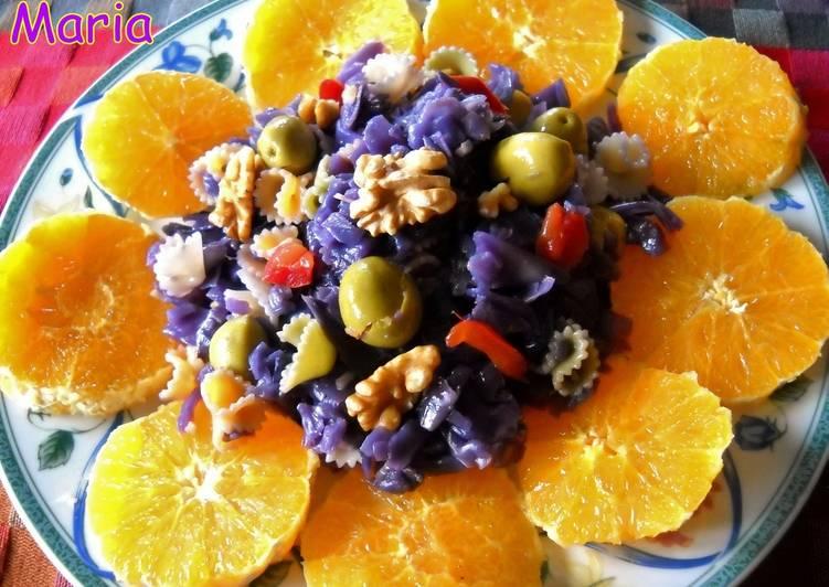 Ensalada templada de lombarda y naranja