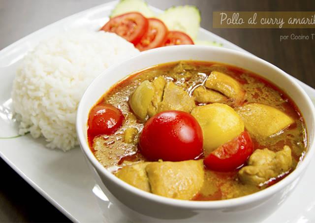 Pollo al curry amarillo paso a paso