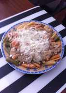 Caracolas tres verduras a la crema de boletus