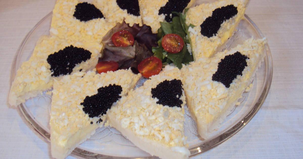 Canap s con alfombra de huevo y caviar receta de kiko for Canape de caviar
