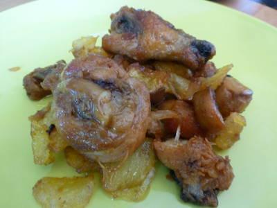 Pollo con limón y champiñón