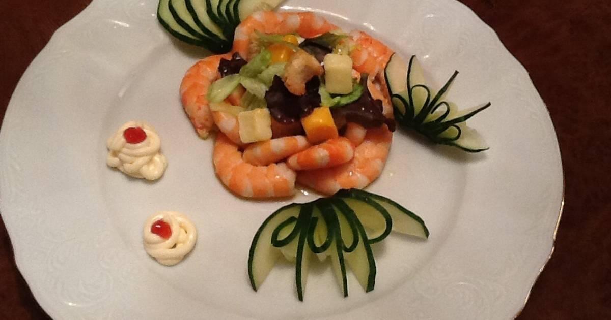 ensalada de langostinos con decoraci n de pepino receta de