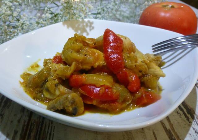 Solomillo de pollo con soja y hortalizas