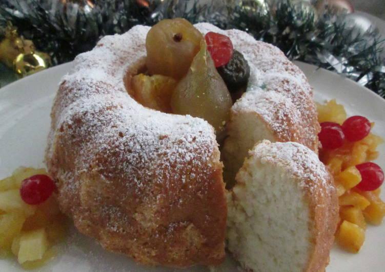 Bizcocho nevado con conservas de frutas