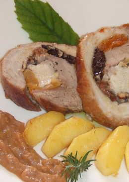 Rollo de cerdo ibérico relleno de frutas y frutos secos para Navidad